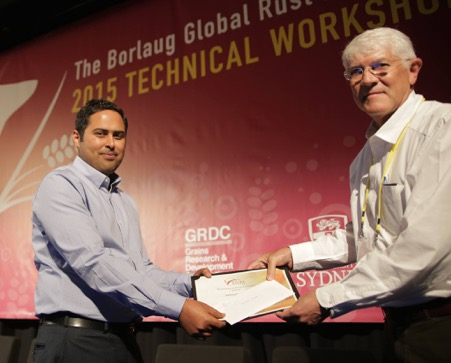 Adnan Riaz (Left) receiving award from Zak Pretorius (right), at Borlaug Global Rust Initiative workshop held in Sydney, Australia in September, 2015.