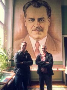 QAAFI scientists Dr Lee Hickey and Prof Ian Godwin gain some inspiration from the renowned Russian botanist and geneticist, Dr Nikolai Vavilov in St Petersburg, Russia.